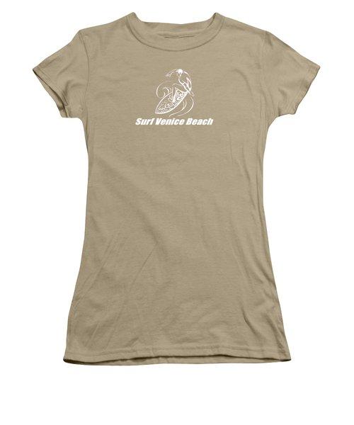 Surf Venice Beach Women's T-Shirt (Junior Cut) by Brian Edward