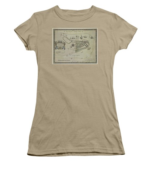Women's T-Shirt (Junior Cut) featuring the photograph The Dukes Plan A Description Of The Town Of Mannados Or New Amsterdam 1664 by Duncan Pearson