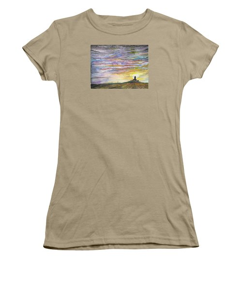 Women's T-Shirt (Junior Cut) featuring the digital art The Living Sky by Darren Cannell