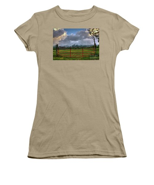 Women's T-Shirt (Junior Cut) featuring the photograph The Red Gate by Douglas Stucky