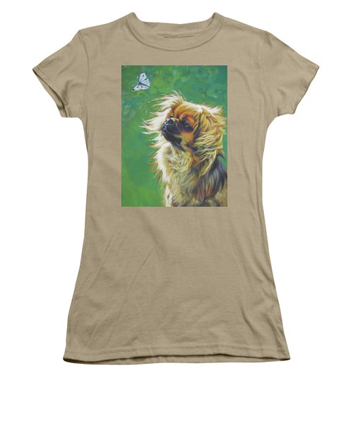 Tibetan Spaniel And Cabbage White Butterfly Women's T-Shirt (Junior Cut) by Lee Ann Shepard