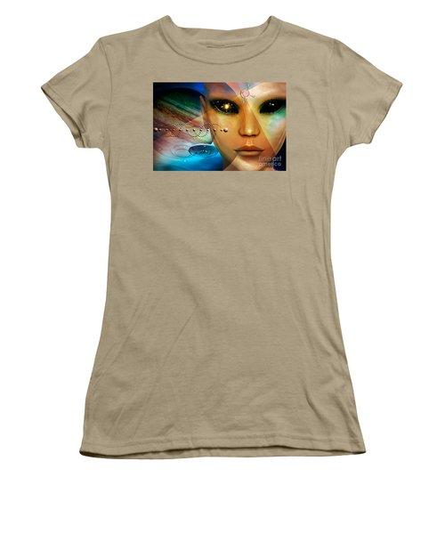 Women's T-Shirt (Junior Cut) featuring the digital art Timeless Traveller by Shadowlea Is