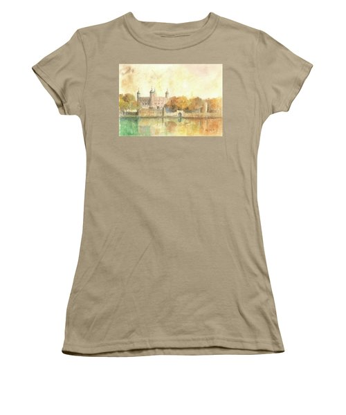 Tower Of London Watercolor Women's T-Shirt (Junior Cut) by Juan Bosco