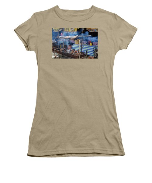 Women's T-Shirt (Junior Cut) featuring the photograph Traditional Market In Taiwan Native Village by Yali Shi