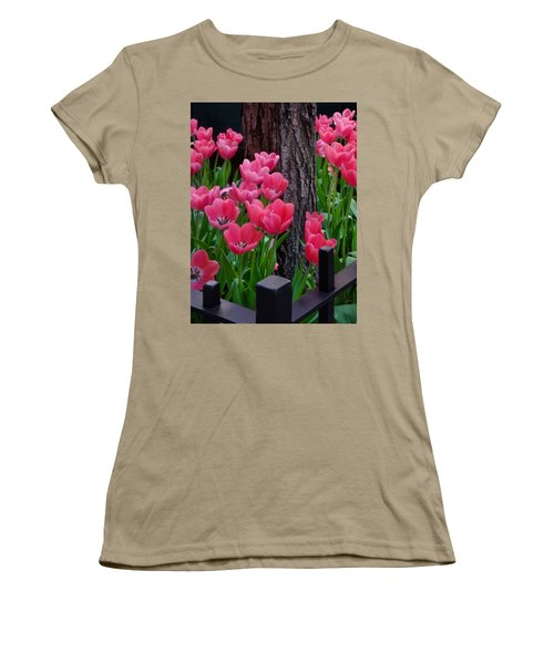 Tulips And Tree Women's T-Shirt (Junior Cut) by Mike Nellums