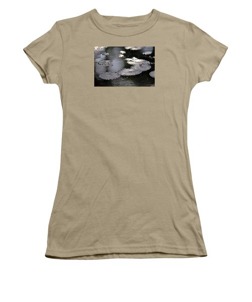 Women's T-Shirt (Junior Cut) featuring the photograph Water And Leafs by Dubi Roman