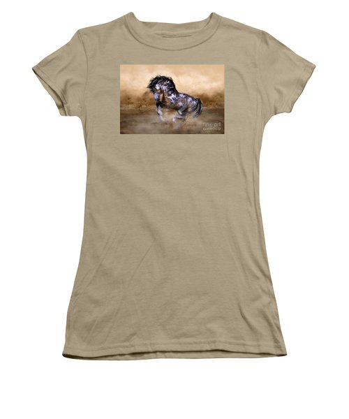 Women's T-Shirt (Junior Cut) featuring the digital art Wild And Free Horse Art by Shanina Conway
