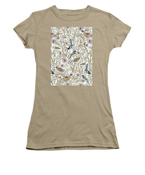 Woodland Edge Birds Women's T-Shirt (Junior Cut) by Jacqueline Colley