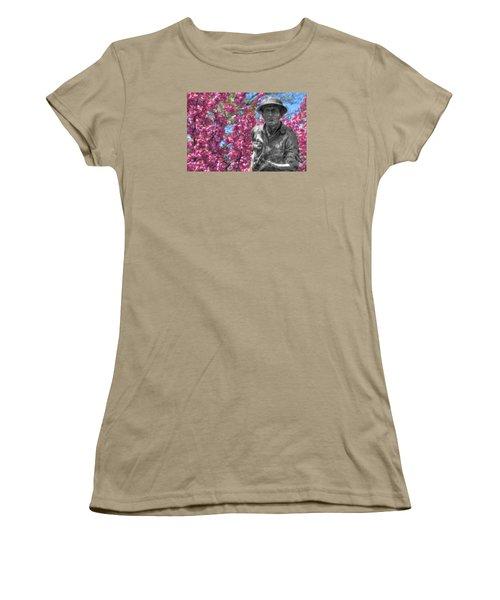 Women's T-Shirt (Junior Cut) featuring the photograph World War I Buddy Monument Statue by Shelley Neff