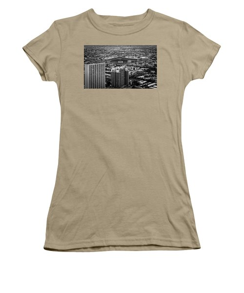 Wrigley Field Park Place Towers Day Bw Dsc4575 Women's T-Shirt (Junior Cut) by Raymond Kunst