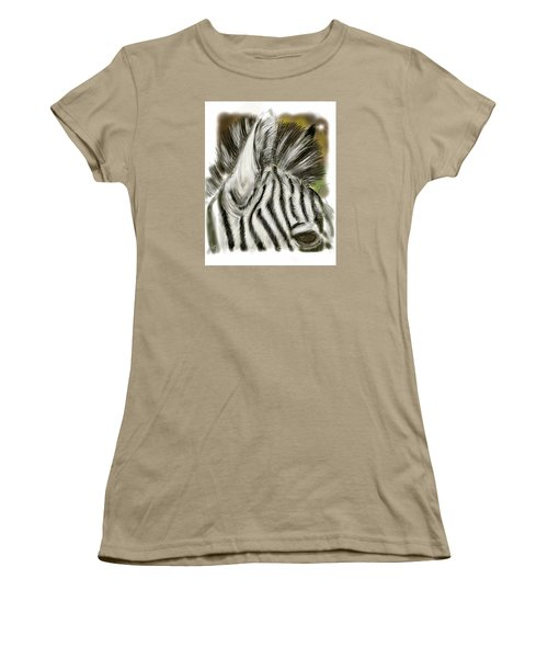 Women's T-Shirt (Junior Cut) featuring the digital art Zebra Digital by Darren Cannell