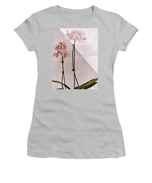 Women's T-Shirt (Junior Cut) featuring the photograph  Orchids In The Window by Ira Shander