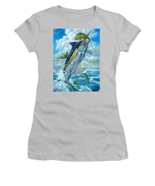 Big Jump Blue Marlin With Mahi Mahi Women's T-Shirt (Athletic Fit)