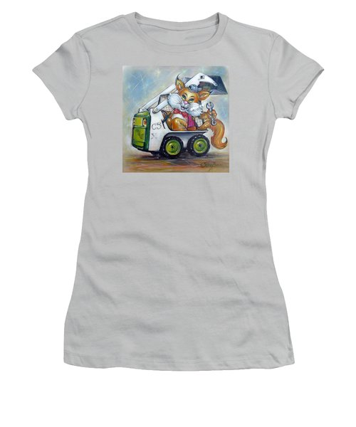 Women's T-Shirt (Junior Cut) featuring the painting Cat C5x 190312 by Selena Boron