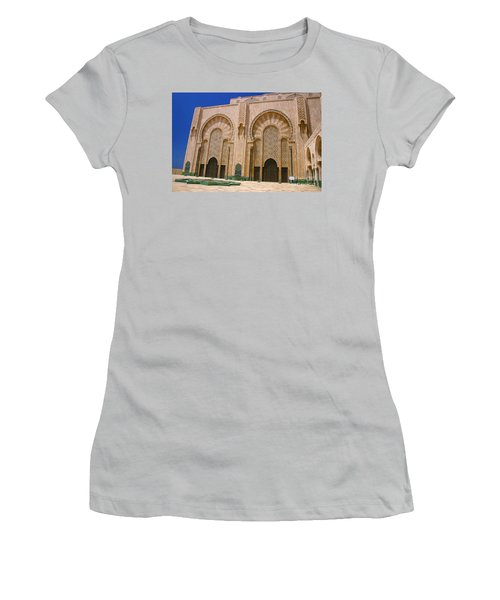 Women's T-Shirt (Junior Cut) featuring the photograph Hassan II Mosque Grand Mosque Sour Jdid Casablanca Morocco by Ralph A  Ledergerber-Photography