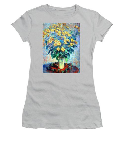 Women's T-Shirt (Junior Cut) featuring the photograph Monet's Jerusalem  Artichoke Flowers by Cora Wandel