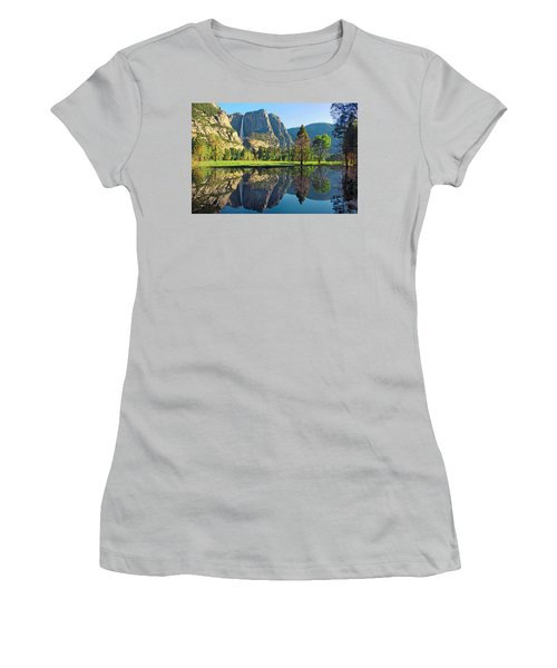 Reflections Of Yosemite Falls Women's T-Shirt (Athletic Fit)