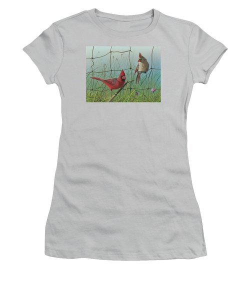 Women's T-Shirt (Junior Cut) featuring the painting Scarlet by Mike Brown