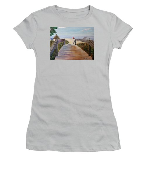 Women's T-Shirt (Junior Cut) featuring the painting To The Beach by Marilyn  McNish