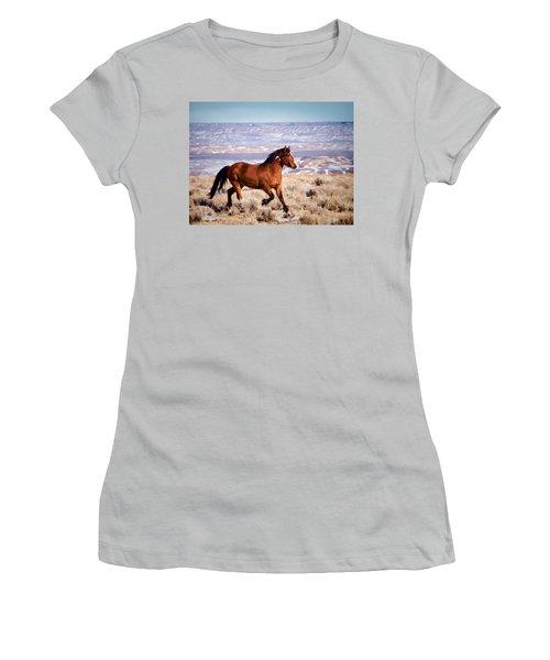 Eagle - Wild Horse Stallion Women's T-Shirt (Junior Cut) by Nadja Rider