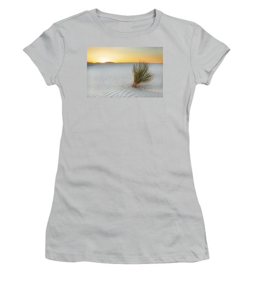 Yucca Plant At White Sands Women's T-Shirt (Junior Cut) by Alan Vance Ley