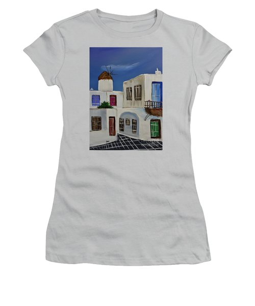 Women's T-Shirt (Junior Cut) featuring the painting Greek Village by Janice Rae Pariza