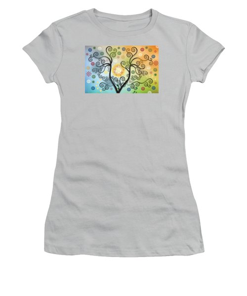 Women's T-Shirt (Junior Cut) featuring the digital art Moon Swirl Tree by Kim Prowse