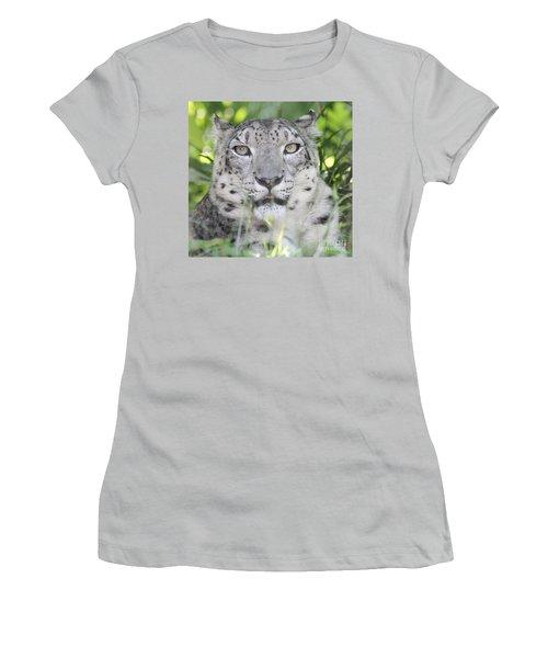 Snow Leopard Women's T-Shirt (Junior Cut) by John Telfer