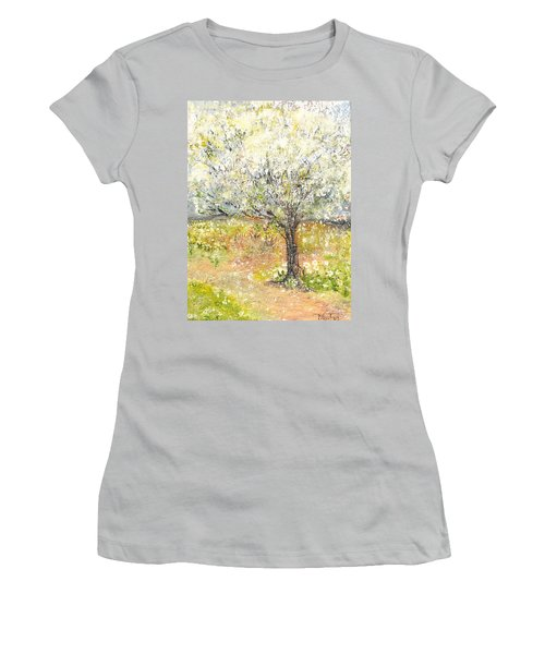 Women's T-Shirt (Junior Cut) featuring the painting Spring by Evelina Popilian