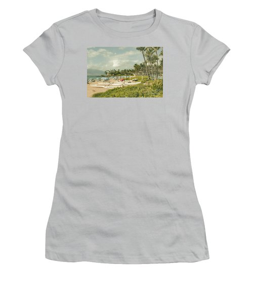Wailea Beach Maui Hawaii Women's T-Shirt (Junior Cut) by Sharon Mau