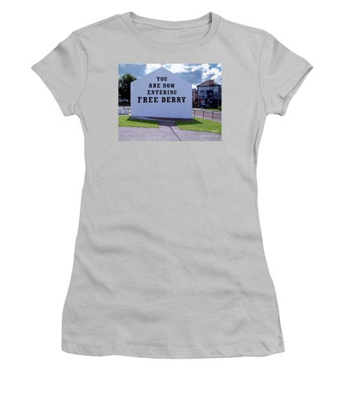 Free Derry Corner Women's T-Shirt (Junior Cut) by Nina Ficur Feenan