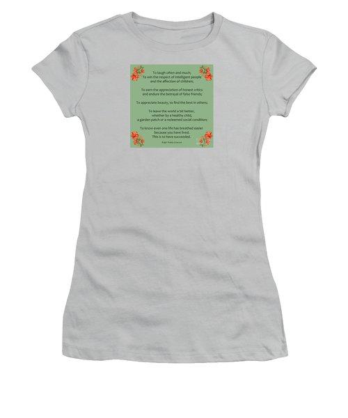 75- Ralph Waldo Emerson Women's T-Shirt (Junior Cut) by Joseph Keane
