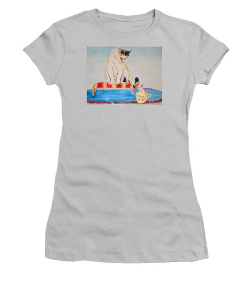 Women's T-Shirt (Junior Cut) featuring the painting A Cup Of Chihuahua by Phyllis Kaltenbach