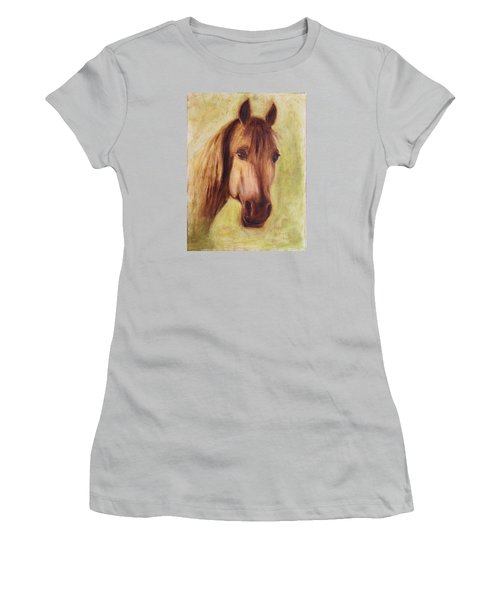 Women's T-Shirt (Junior Cut) featuring the painting A Fine Horse by Xueling Zou