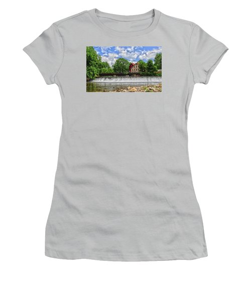 Women's T-Shirt (Junior Cut) featuring the photograph A View Of The Mill From The River by Debra Fedchin