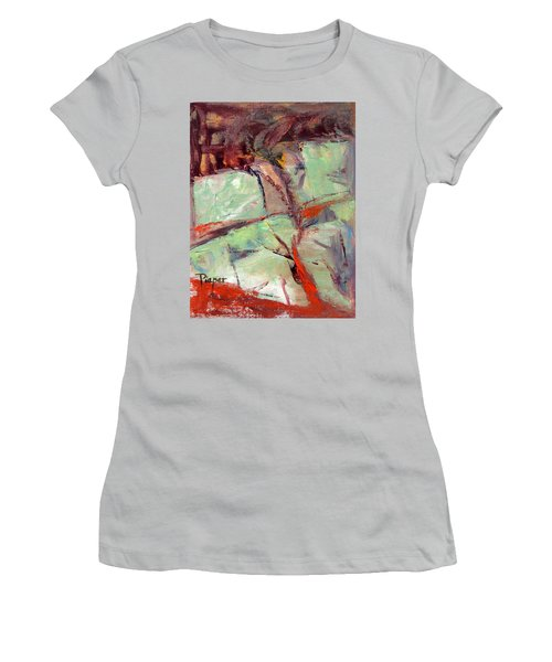 Abstract With Cadmium Red Women's T-Shirt (Athletic Fit)