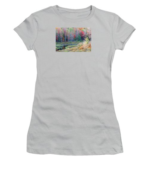 Women's T-Shirt (Junior Cut) featuring the photograph Adirondack Fall by Mariarosa Rockefeller