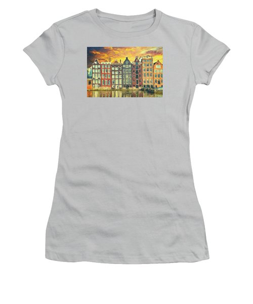 Women's T-Shirt (Athletic Fit) featuring the painting Amsterdam by Taylan Apukovska