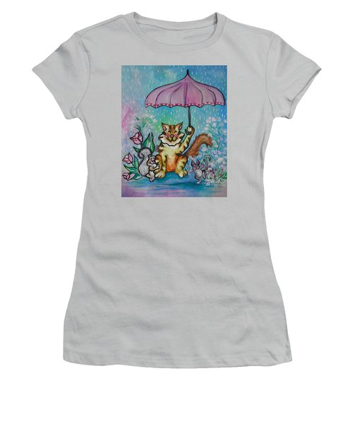 April Showers Women's T-Shirt (Junior Cut) by Leslie Manley