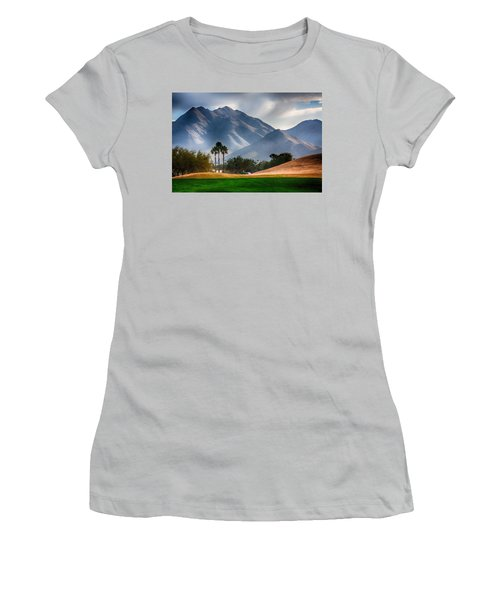 Arizona Sunrise Golfing Women's T-Shirt (Junior Cut) by Fred Larson