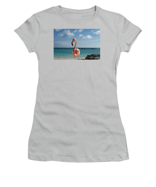 Women's T-Shirt (Junior Cut) featuring the photograph Aruba Hairy Eyeball by HEVi FineArt