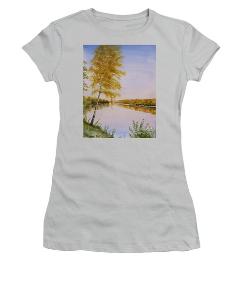 Women's T-Shirt (Junior Cut) featuring the painting Autumn By The River by Martin Howard