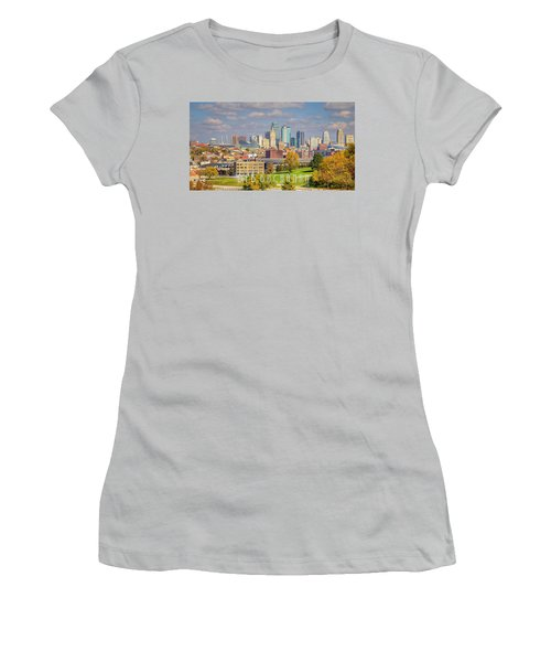 Autumn In Kansas City With Logo Women's T-Shirt (Athletic Fit)