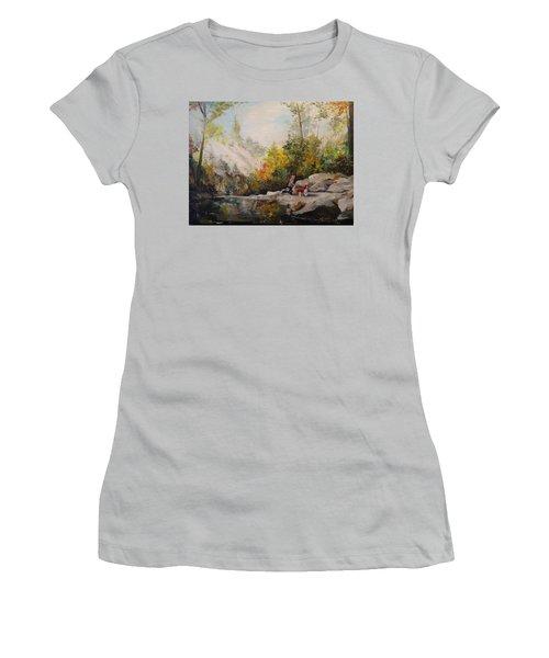 Women's T-Shirt (Junior Cut) featuring the painting Autumn Walk by Alan Lakin