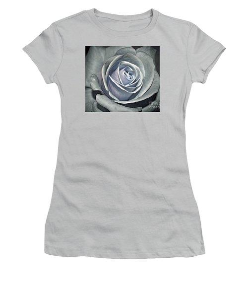 Women's T-Shirt (Junior Cut) featuring the photograph Baby Blue Rose by Savannah Gibbs
