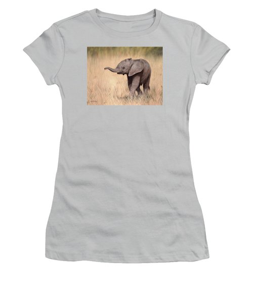 Elephant Calf Painting Women's T-Shirt (Athletic Fit)