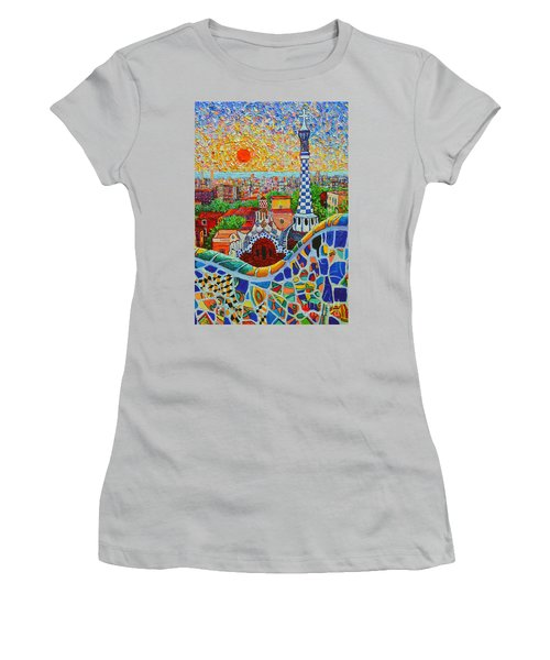 Barcelona Sunrise - Guell Park - Gaudi Tower Women's T-Shirt (Athletic Fit)