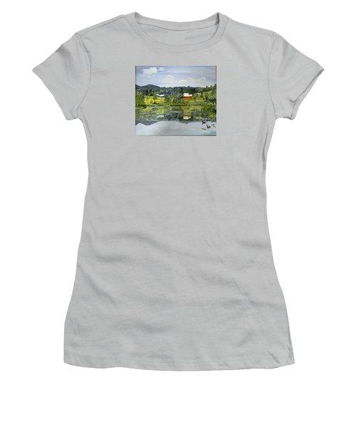 Barn At Little Elk Lake Women's T-Shirt (Junior Cut) by Christine Lathrop