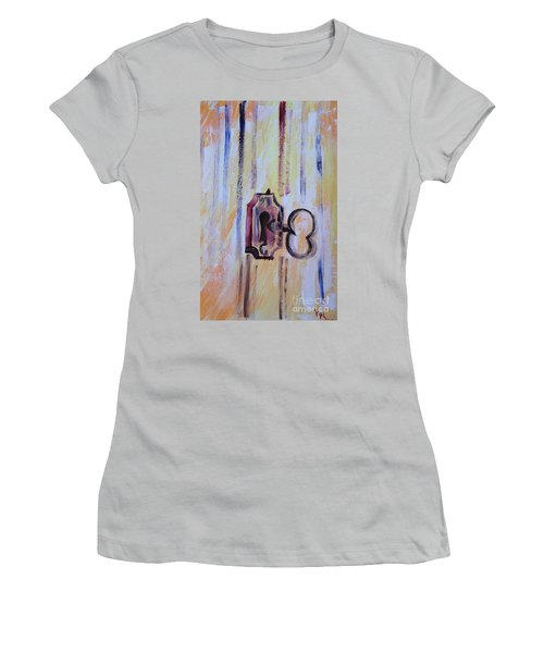 Women's T-Shirt (Junior Cut) featuring the painting Barn Secrets by PainterArtist FIN