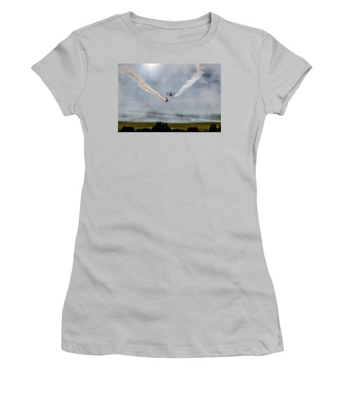 Women's T-Shirt (Junior Cut) featuring the photograph Barnstormer Late Afternoon Smoking Session by Chris Lord